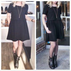 Madewell Black Crepe Tiered Split Shift Dress